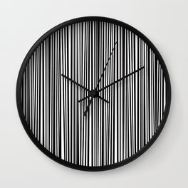 Simply small black and white handrawn stripes - vertical - Mix & Match with Simplicty of life Wall Clock