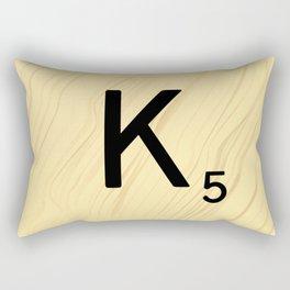 Scrabble K Decor, Scrabble Art, Large Scrabble Tile Initials Rectangular Pillow