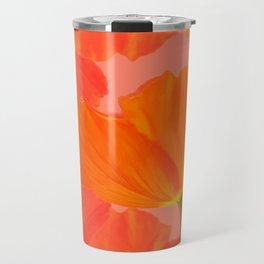 Beautiful Poppies Coral Color Background #decor #society6 #buyart Travel Mug