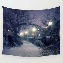 Winter Garden in the Snow Wall Tapestry
