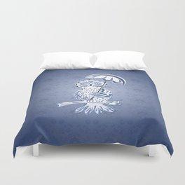Blue ornamental owl Duvet Cover