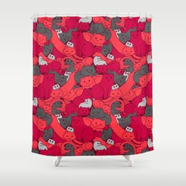 Purrrfect Pattern (Red) Shower Curtain