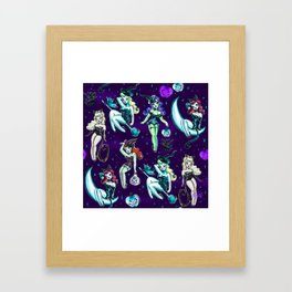Witches and Black Cats Framed Art Print