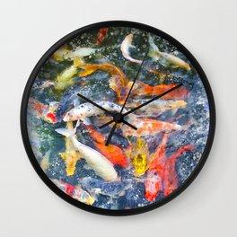 Koi Carp Splash Wall Clock