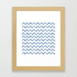 Chevron Light Blue And White Framed Art Print