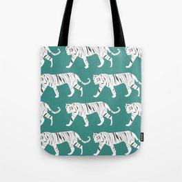 Tiger Print Teal Tote Bag