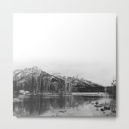 Grand Tetons in Black and White Metal Print
