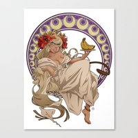 mucha Canvas Prints featuring Mucha Homage by Muy-Mal