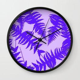 Decorative Grape Purple Ferns Glen on Lilac Color Wall Clock