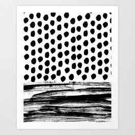 Zoe - Black and white dots, stripes, painted, painterly, hand-drawn, bw, monochrome trendy design Art Print