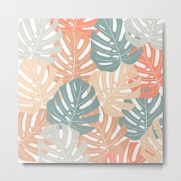 Monstera leaves Jungle leaves Palm leaves Tropical Metal Print