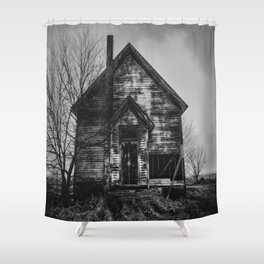 School's Out - Abandoned Schoolhouse in Iowa in Black and White Shower Curtain