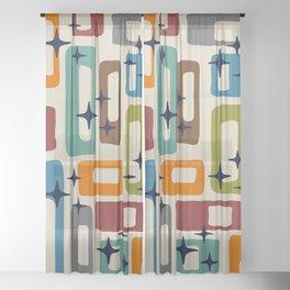 Retro Mid Century Modern Abstract Pattern 224 Sheer Curtain