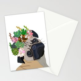 Floral Pug Stationery Cards