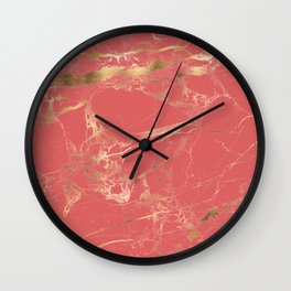 Marble, Coral + Gold Veins Wall Clock