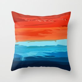 Southwest Abstract Painting - Blue, Orange and Red Throw Pillow