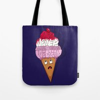 cocaine Tote Bags featuring There's Never Gonna Be Enough Ice Cream! by Chris Piascik