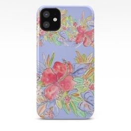 tropical hawaiian flowers periwinkle iPhone Case