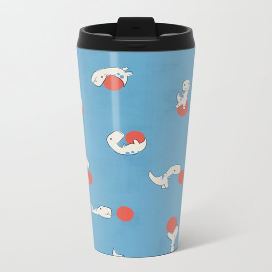 Tiny T-Rex and his Red Ball Metal Travel Mug