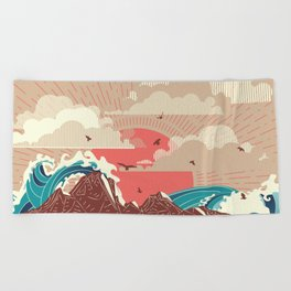 Stylized big waves of ocean or sea at sunset landscape Beach Towel