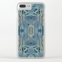 Tropical Art Deco 1.1a Blue, Green, Gold Clear iPhone Case