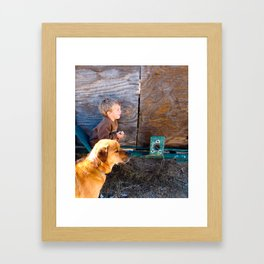 The Kid and his Dog. Framed Art Print