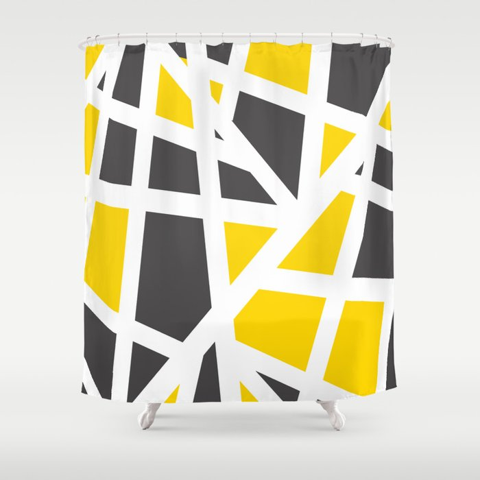 Abstract Interstate  Roadways Gray & Yellow Color Shower Curtain