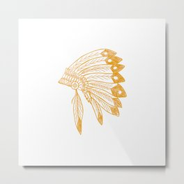 Indian Headdress Brown Metal Print