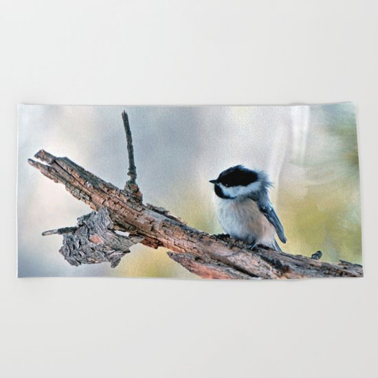 Chickadee Against the Wind Beach Towel