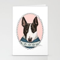 bull terrier Stationery Cards featuring Bull Terrier by Rhian Davie