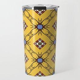 Абстрактные бесшовные модели желтого цвета для обоев и фона. Travel Mug