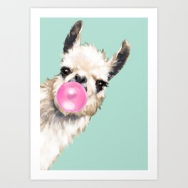 Bubble Gum Sneaky Llama in Green Art Print