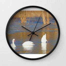 Swans see, hear & speak no evil Wall Clock