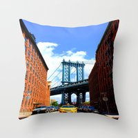 bridge Throw Pillows featuring Bridge by Brown Eyed Lady