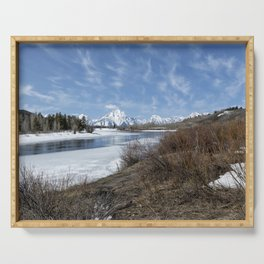 Grand Tetons from Oxbow Bend at a Distance Serving Tray