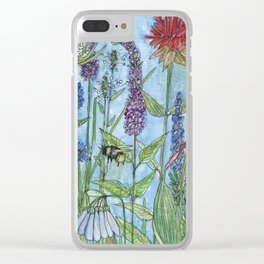 Lady Slipper Orchid Garden Flower Botanical Floral Watercolor on Canvas Clear iPhone Case
