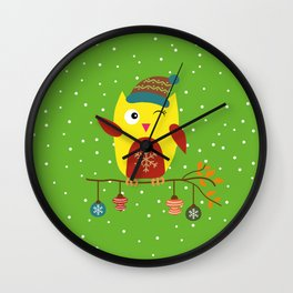 Cute Owl sitting on a branch with christmas baubles, Winter, X-mas Design Wall Clock