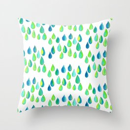 Cherish All of Your Tears blue green pattern tears illustration watercolor inspirational words Throw Pillow