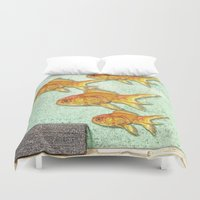 goldfish Duvet Covers featuring Goldfish by Mr and Mrs Quirynen