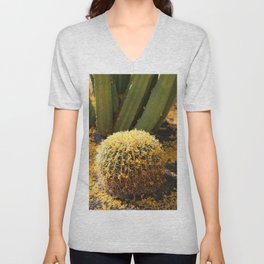 Barrel Cactus Covered In Butter Yellow Palo Brea Blossoms in Portrait Unisex V-Neck