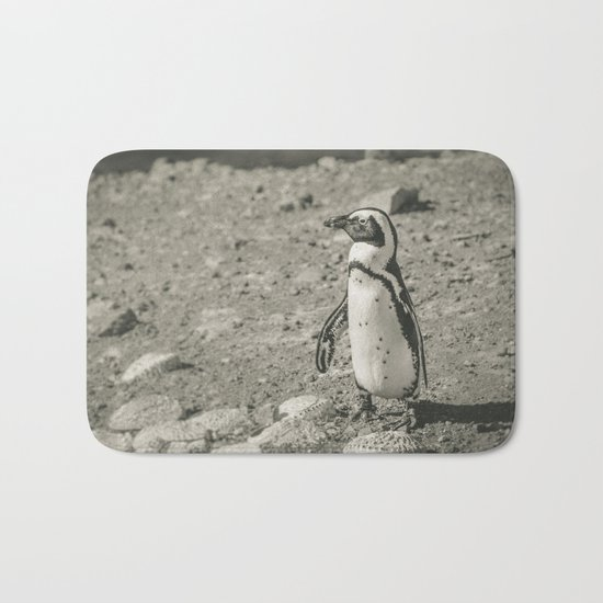 Black and White African Penguin Bath Mat