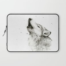 Wolf Howling Watercolor Wildlife Painting Laptop Sleeve
