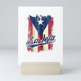 Womens La Jefa Puerto Rico Flag Shirt For Puerto Rican Women Camisa Mini Art Print