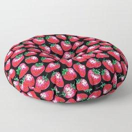 Red Strawberry pattern on black Illustration Floor Pillow