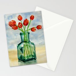 Watercolor Tulips in Blue Vase Stationery Cards