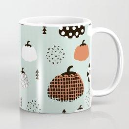 Inky Texture Pumpkins halloween illustration pattern design mint orange Coffee Mug