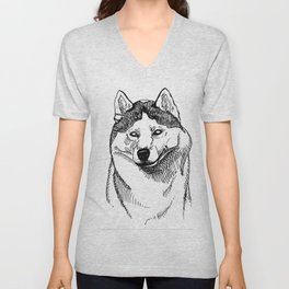 Siberian Husky Portrait Unisex V-Neck
