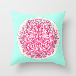 Spring Arrangement - floral doodle in pink & mint Throw Pillow
