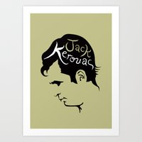 kerouac Art Prints featuring Jack Kerouac by lucylovesthis