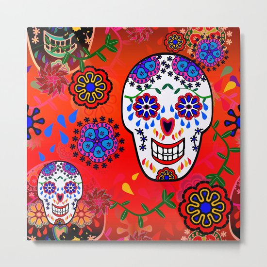 Sugar Skulls in Red  (Calavera) Metal Print